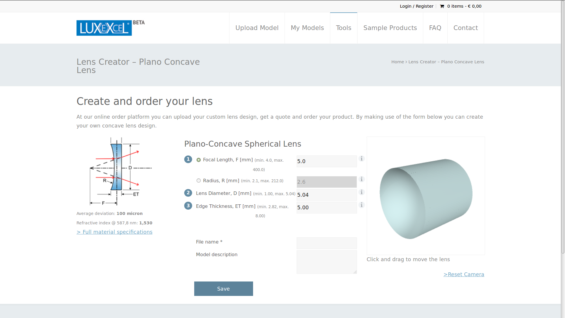 Lens creator - Plano concave lens